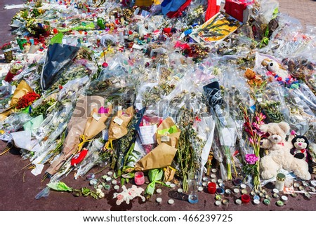 Nizza, France - July 25, 2016: tributes at the Promenade des Anglais in Nizza. On July 14th, 2016, 85 people were killed by a terrorist who drives a truck in a crowd