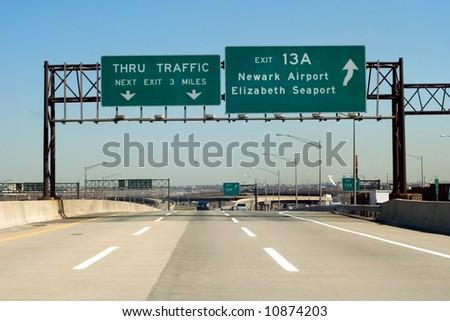 NJ Turnpike (I-95) exit to Newark and Elizabeth, New Jersey - stock photo