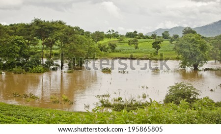 NKHOMA, MALAWI - JANUARY 13: a flooded landscape on January 16, 2014 near Nkhoma, Malawi. The rainy season in Malawi typically runs from December to April.  - stock photo