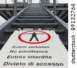 No admittance sign. Keep out sign. No entry sign. Multilingual. - stock photo