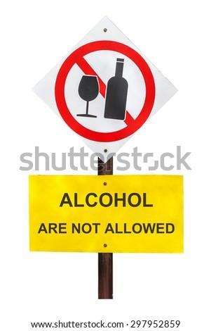 No Alcohol Area Sign, white background - stock photo