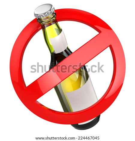 No alcohol sign.  Bottle of beer on white isolated background. 3d - stock photo