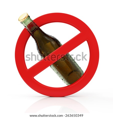 No Alcohol Sign Concept. Red Forbidden Symbol with Bottle of Beer isolated on white background - stock photo
