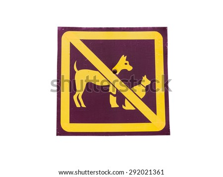 No animal allowed sign in park  Isolated On White Background - stock photo