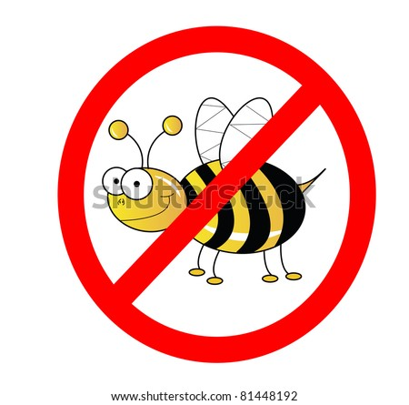 No bees sign illustration isolated on white - stock photo