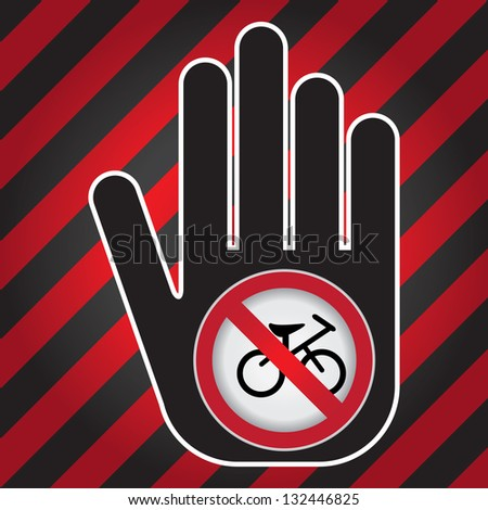 No Bicycle Prohibited Sign Present By Hand With No Bicycle Sign Inside in Caution Zone Dark and Red Background - stock photo