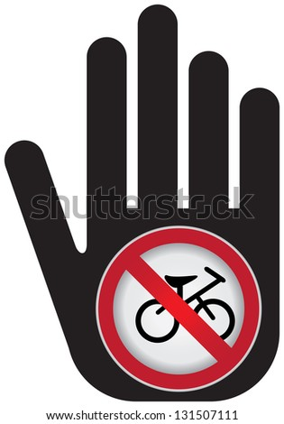 No Bicycle Prohibited Sign Present By Hand With No Bicycle Sign Inside Isolated on White Background - stock photo