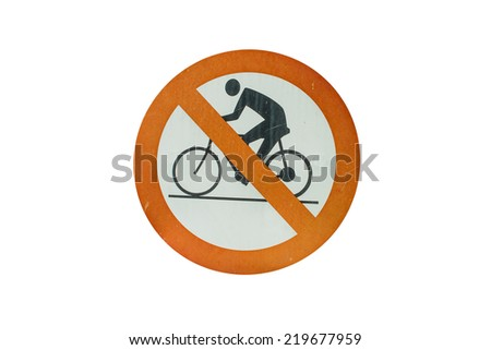 No bike allowed sign in white background - stock photo