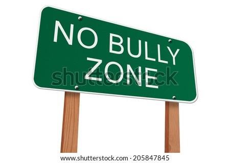 No Bully Zone Sign, Green highway sign with words No Bully Zone isolated on white - stock photo