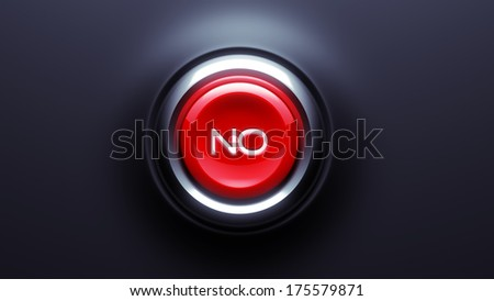 No Button isolated on dark background - stock photo
