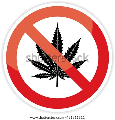 No cannabis sign on white background.