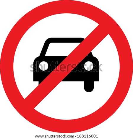 No car or no parking traffic sign - stock photo