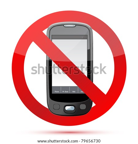 No cell phone sign illustration design isolated over a white background - stock photo