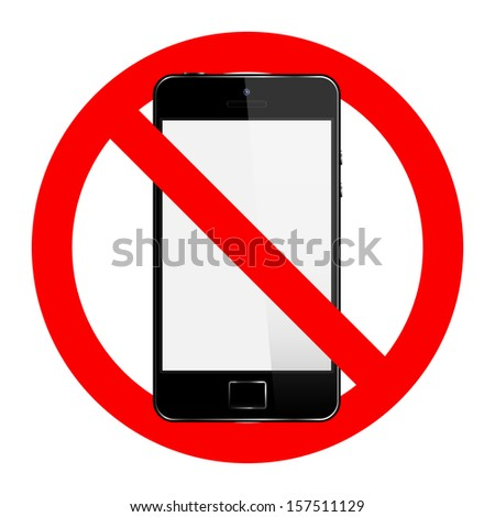no cell phone sign isolated on white background