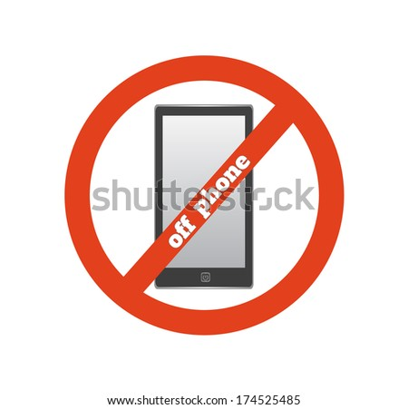 No cell phone sign. Warning sign indicating cell phones not allowed, sign not to talk by phone. Raster version - stock photo