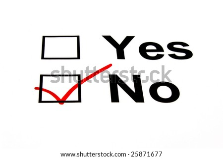 NO checkbox selected with red marker isolated on white - stock photo