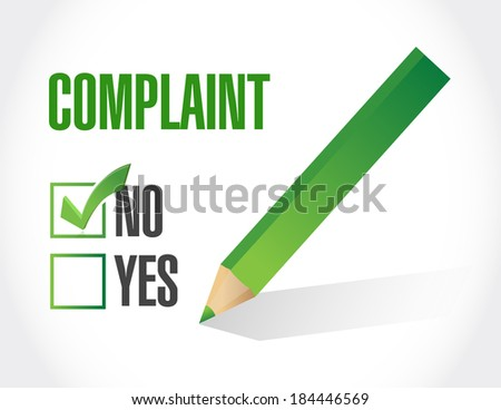 no complaints check mark selection. illustration design over a white background