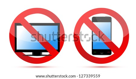 No computer, no mobile or cell phone illustration design over white