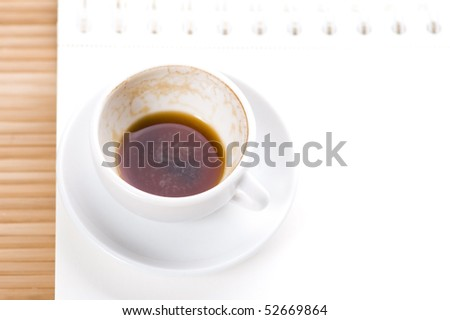 no concept. blank page, empty cup of coffe - stock photo