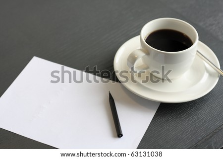 no concept. blank page, empty cup of coffee, pencil - stock photo