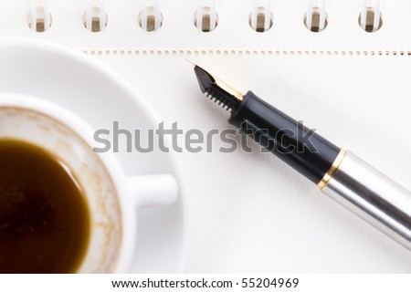 no concept. blank page, pen, coffee - stock photo