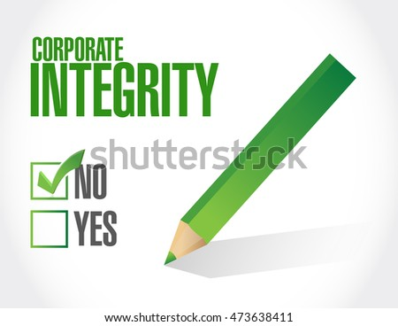 no Corporate integrity approval sign concept illustration design graphic