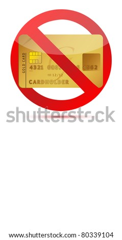 No credit or credit cards not allowed illustration design - stock photo