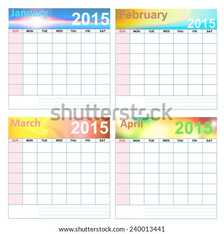No date of Simple 2015 colorful calendar. - stock photo