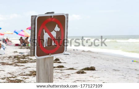 no dogs on the beach sign - stock photo