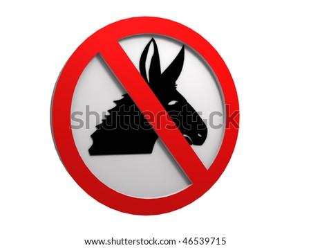 no donkey sign - stock photo