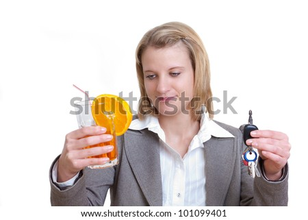 No drinking and driving. Young woman declines the cocktail glass - stock photo