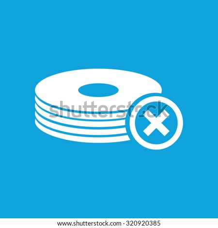 No drive icon, simple white image isolated on blue background - stock photo