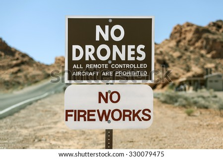 No drones all remote controlled aircraft are prohibited sign. - stock photo