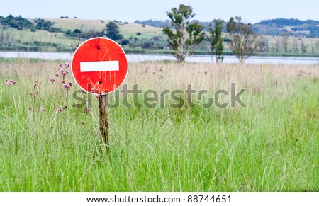 No entry sign in the middle of no where - stock photo