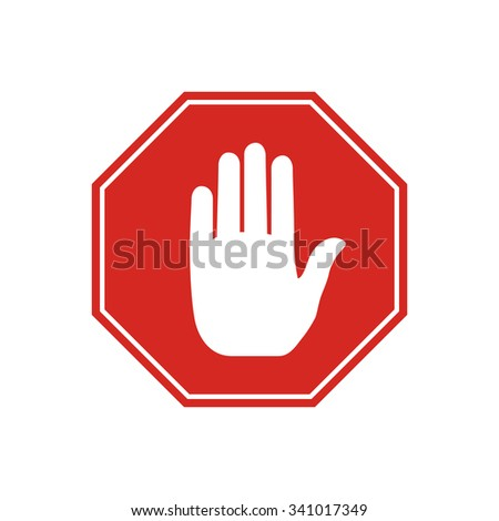 No entry stop sign with hand inside, isolated on white background.