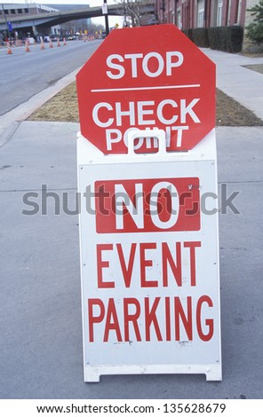No event parking sign on a driveway - stock photo
