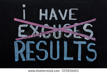 NO EXCUSES. Motivational concept written on chalkboard - stock photo