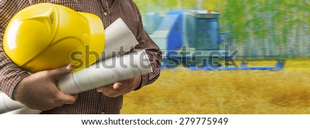 No face Unrecognizable person Businessman hold empty blue print paper Business man wear brown shirt Copy space for inscription Experienced agronomist examining wheat grain in field Takes readings - stock photo