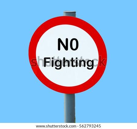 No Fighting Sign Playground Fight Stock...