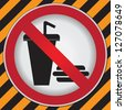 No Food and Drink or No Eating and Drinking Prohibited Sign in Caution Zone Dark and Yellow Background - stock photo