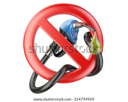 No Gasoline, nozzle fuel pump sign ban. No Gas station icon isolated on a white background. - stock photo