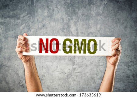 No GMO. Man holding banner with Anti GMO message. - stock photo