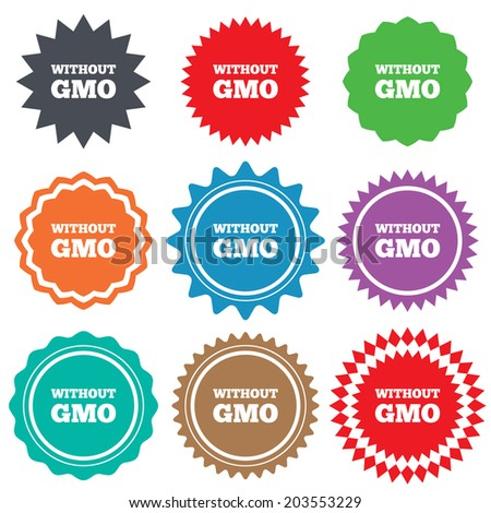 No GMO sign icon. Without Genetically modified food. Stop GMO. Stars stickers. Certificate emblem labels.