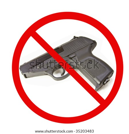 No guns on a white Background - stock photo