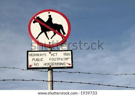 No horseriding - sign - stock photo