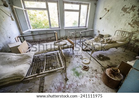 No. 126 hospital in Pripyat ghost town, Chernobyl Nuclear Power Plant Zone of Alienation, Ukraine - stock photo