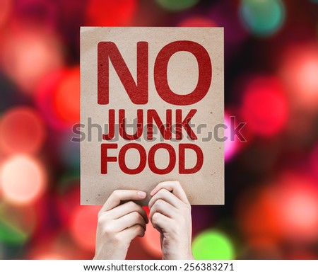 No Junk Food card with colorful background with defocused lights - stock photo
