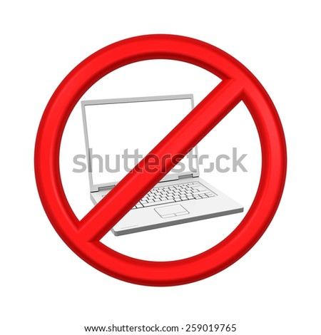 No Laptop - prohibition sign isolated over white. Computer generated 3D photo rendering. - stock photo