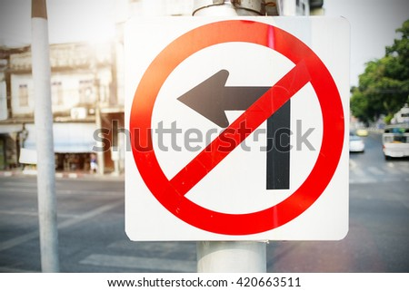 No Left Turn Sign on the way - stock photo