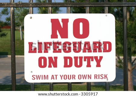 No lifeguard on duty sign - stock photo